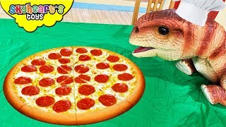 "Pet Dinosaur wants to make PIZZA!! ""Skyheart's Toys"" funny baby dinosaurs for kids puppet"