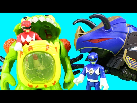 Thumbnail: Imaginext Power Rangers Alien Invasion Terror Toad & Putty With Blue Ranger And Triceratops