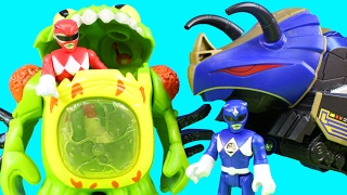 Imaginext Power Rangers Alien Invasion Terror Toad & Putty With  Blue Ranger And Triceratops