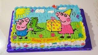 ТОРТ СВИНКА ПЕППА Как украсить торт кремом Торты для детей Peppa Pig Cake