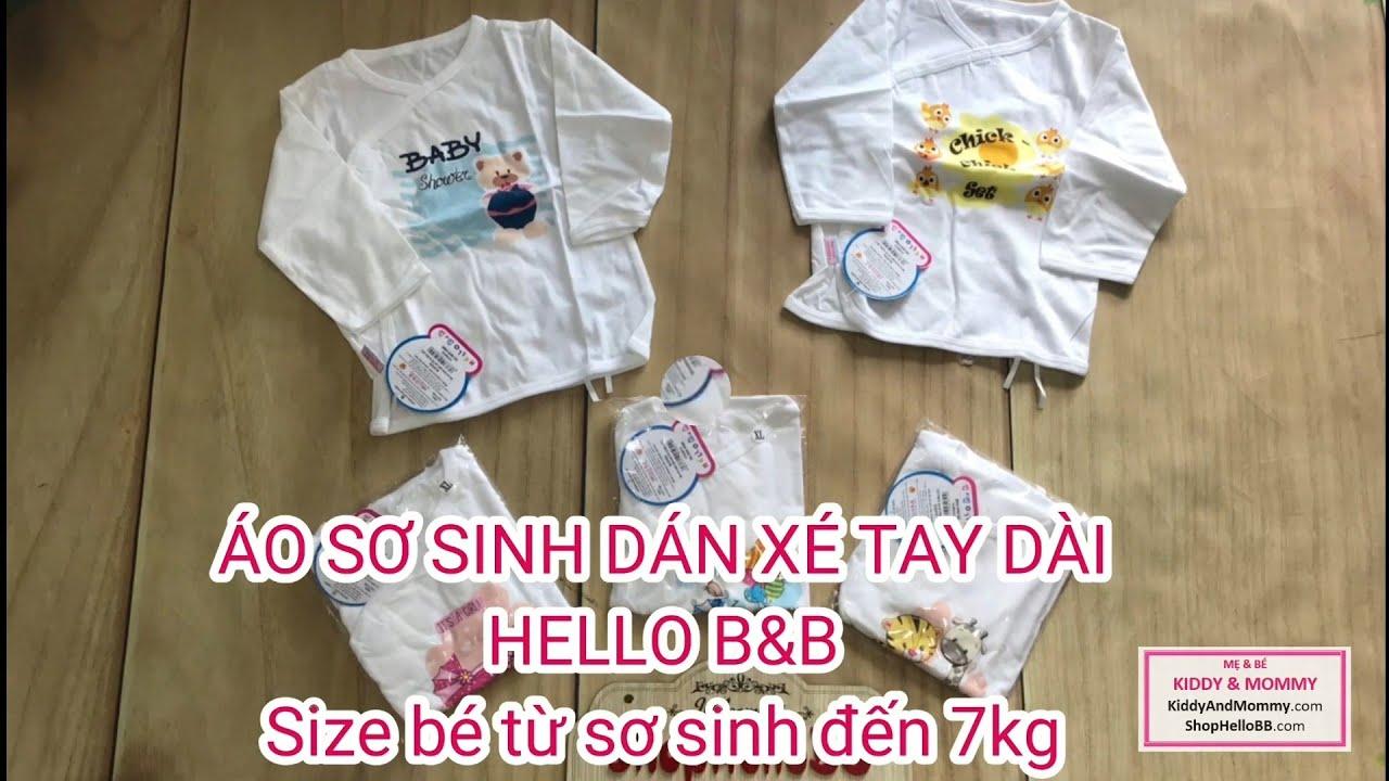 ÁO SƠ SINH DÁN XÉ TAY DÀI HELLO B&B Size bé từ sơ sinh đến 7kg | Hello BB | Kiddy and Mommy