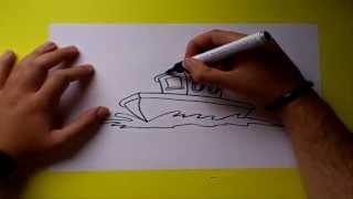 Como dibujar un barco paso a paso | How to draw a boat