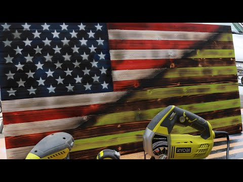 How to make this awesome Ryobi Power Tools American Torched/Rustic Flag (Instructional)