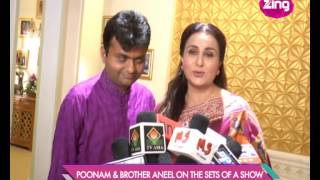 Poonam Dhillon & brother Aneel on the sets of a show