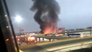 Otra vista del voraz incendio en Expo Moroleón SLP