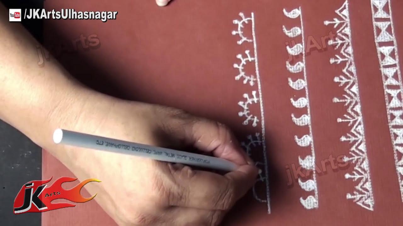 Warli painting borders 1 jk arts 547 youtube