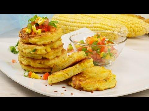 Corn Cakes mit Gemüse Salsa / leckere Maisküchlein / Mais Bratlinge / Maispuffer