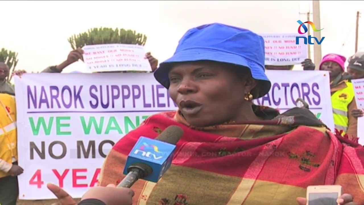 Contractors and suppliers protest against the Narok county government