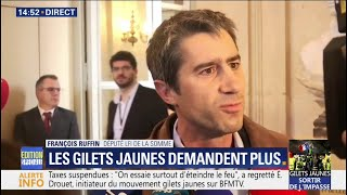 """François Ruffin salue les gilets jaunes, qui """"ont réussi à rendre la vue à un pouvoir aveugle"""""""