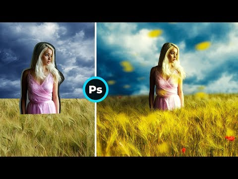 Девушка в Поле #Photoshop Tutorial Photo Manipulation