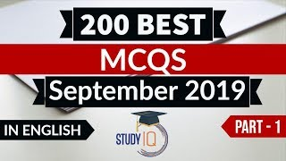 Best 200 SEPTEMBER 2019 Current Affairs in ENGLISH Part 1 - Finest MCQ for all exams by Study IQ