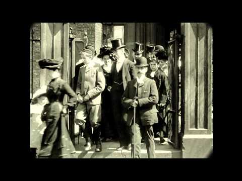 1902 England  - Congregation Leaving Church (Speed Corrected w/ Sound)