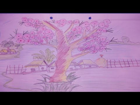 A Simple Tree Coloring Art | A Simple Tree Painting | Pencil Art | Beginners Painting Tutorial