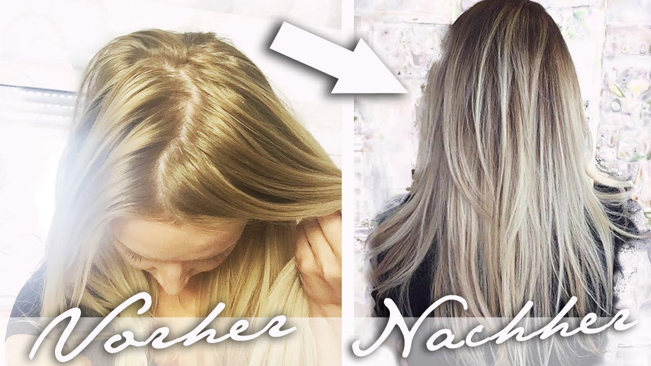 Haare selber frben - Gelbstich im Haar entfernen | Ombre ...