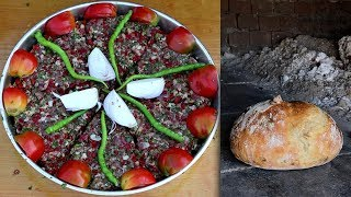 TAŞ FIRINDA KÖY EKMEĞİ ve TEPSİ KEBABI YAPIMI   Cook village bread and tray kebab in brick oven