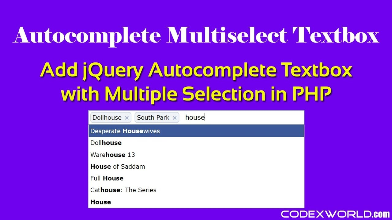 Autocomplete Textbox with Multiple Selection using jQuery in PHP