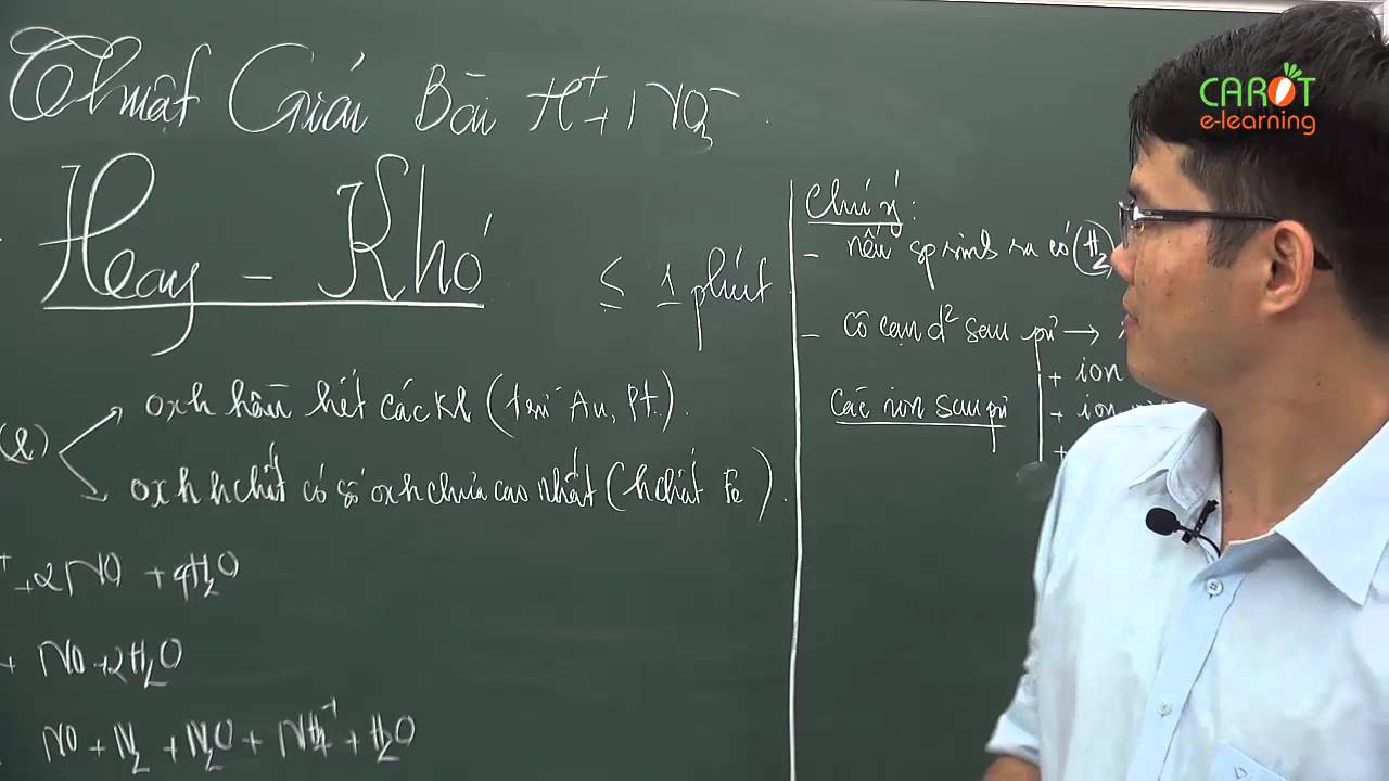 Kỹ thuật giải bài tập H+NO3- trong vòng 1 phút