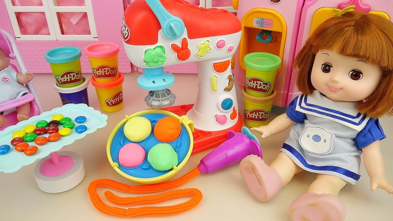Play doh and baby Doll candy snack cooking play Doli house