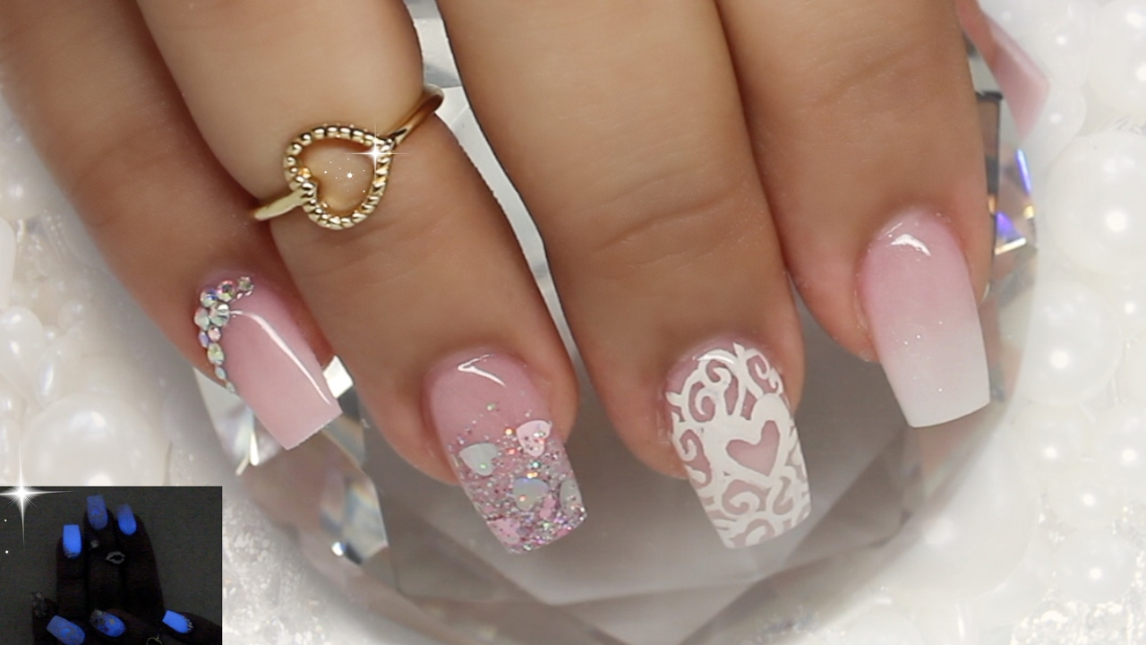 Glow In The Dark Valentine\'s Nails - YouTube