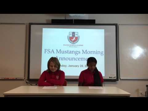 Fulton Science Academy Private School  Morning Announcement January 25 2016