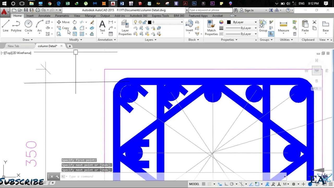 How To Make Column/Beam Detailing Drawing in AutoCAD