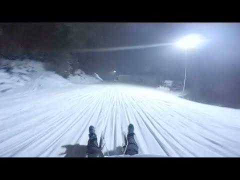 Awesome night sledding in Austria