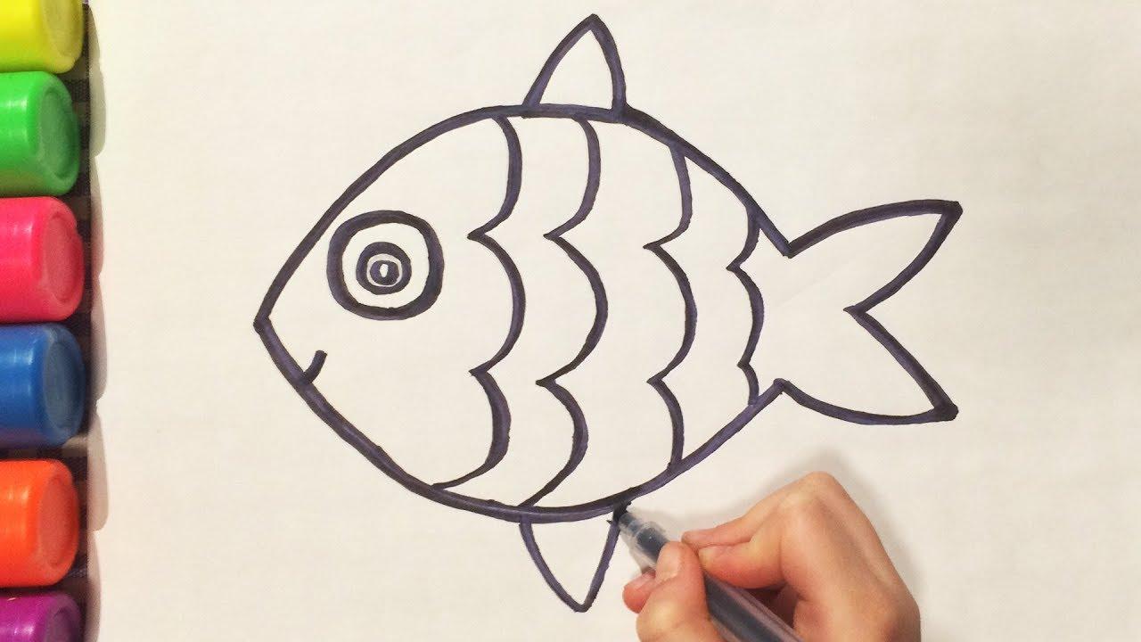 КАК НАРИСОВАТЬ РЫБКУ карандашом HOW TO DRAW FISH Простые домашние рисунки (Эмилия)
