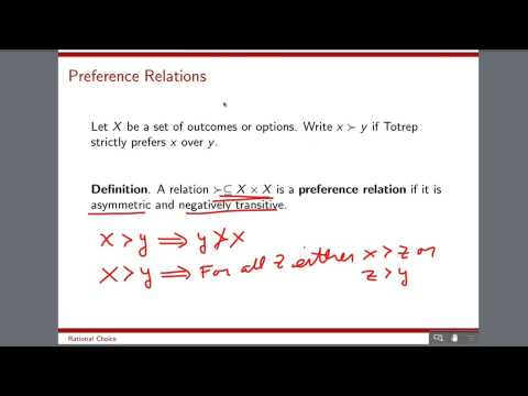 Rational Choice Lecture 1 Part 2: Preference Relations