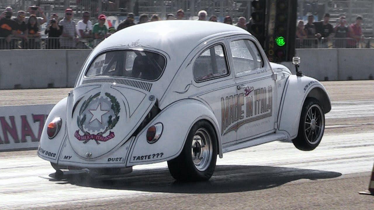 Vw Beetle Unleashed On Drag Strip Sounds Wheelies Burnouts You