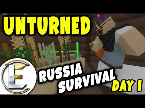 NEW BASE - Unturned Russia Survival (Day 1) - Base Build and Growing Food - 동영상