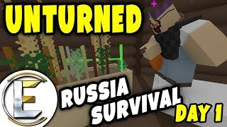 NEW BASE   Unturned Russia Survival (Day 1) - Base Build and Growing Food