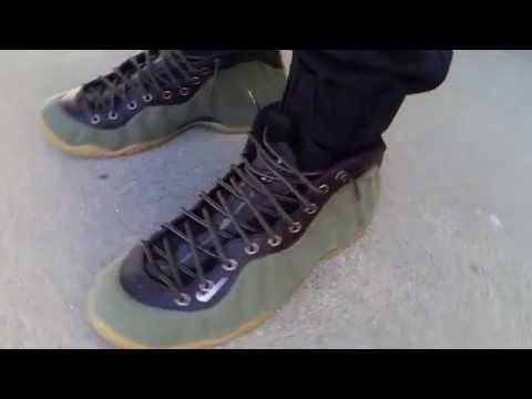 brand new 0c9bb ba993 NIKE AIR FOAMPOSITE ONE PREMIUM PRM OLIVE MEDIUM BROWN BLACK TIMBERLAND  BOOT ON FEET REVIEW HEAT! - YouTube