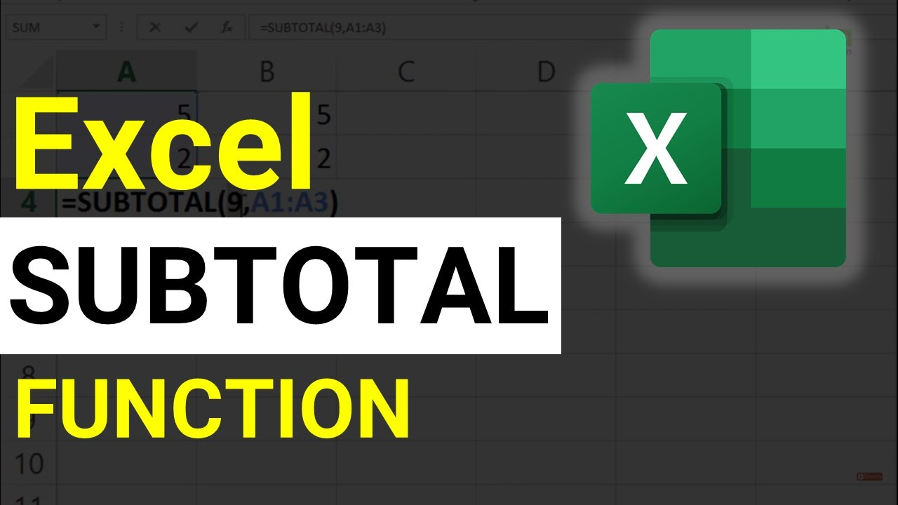 SUBTOTAL Function in Excel   How to use SUBTOTAL Formula in Excel