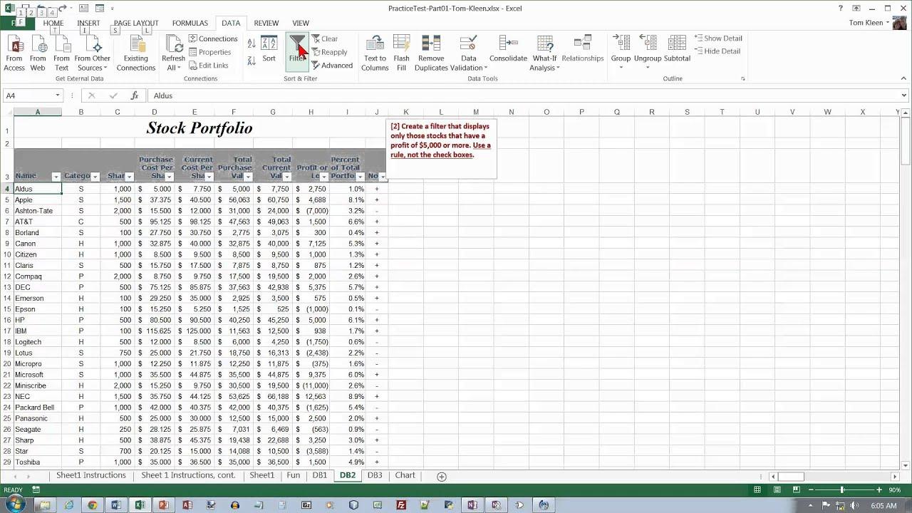 Excel Practice Test Part 1 Video 2 Of 2