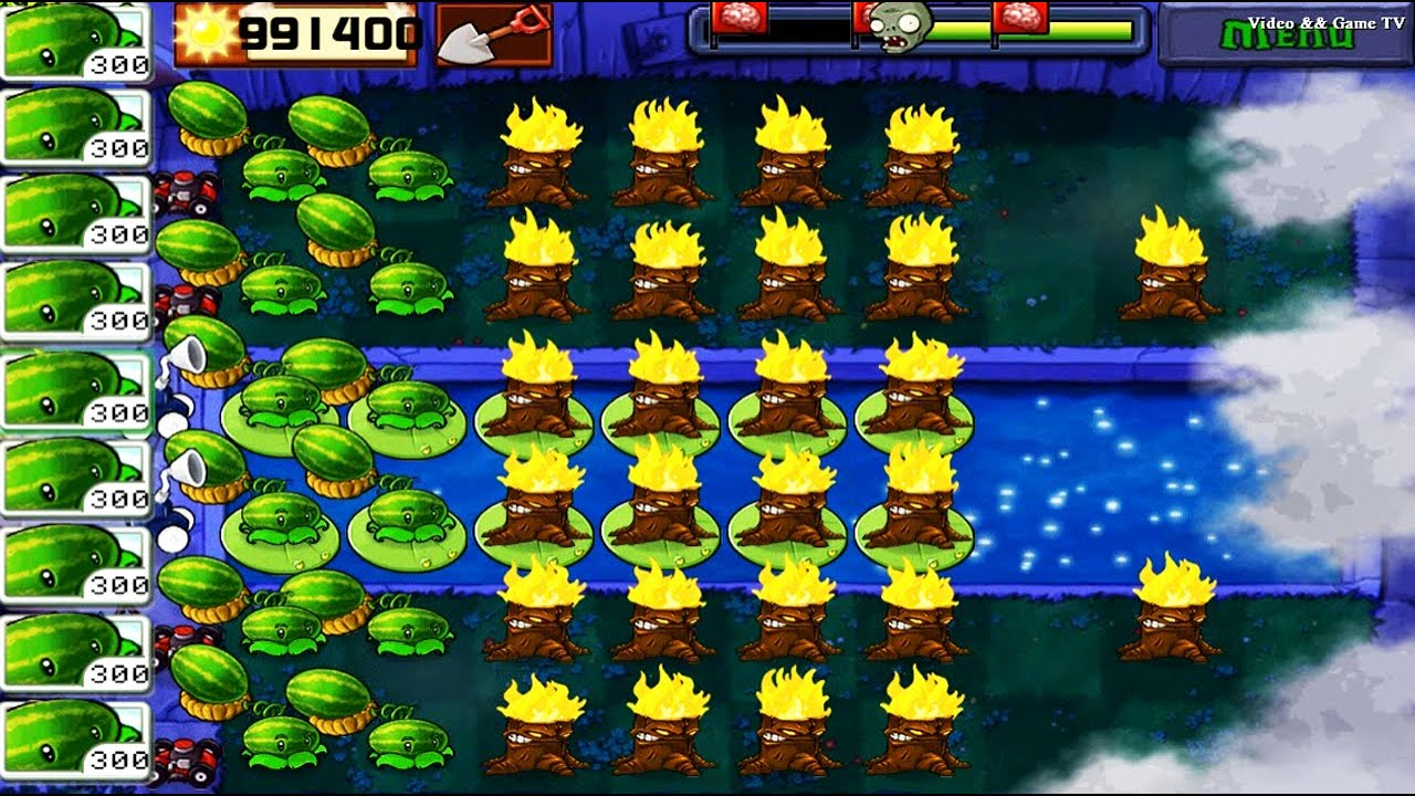 Best strategy Plants vs Zombies | Double Melon Behind Torchwood in Foggy Night