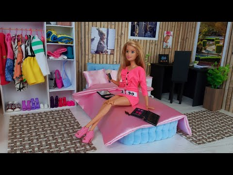 Barbie Ken Video Life in the Dreamhouse Morning Bedroom routine Dress up Barbie Doll New Dress