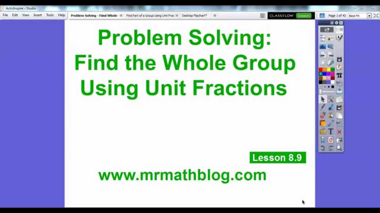 Problem Solving Find The Whole Using Unit Fractions