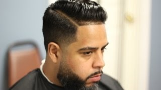 comb over(pomp) tapered with hard part