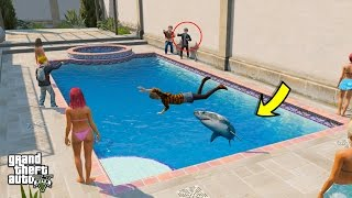 GTA 5 REAL LIFE TEEN MOD #29 SHARK IN A POOL PRANK FAIL