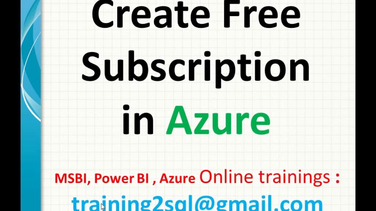 Create free Azure Subscription | Azure free subscription | azure free  account