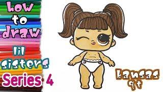 LOL Surprise Series 4 lil Sisters Kansas Q.T. - How to Draw Lil Kansas QT - coloring pages