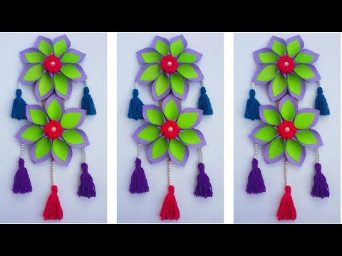 DIY: Walll Hanging Idea!!! How to Make Beautiful Paper Flower Hanging for Home/Room Decoration!!!