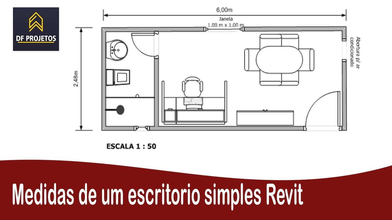 Medidas de um escritorio simples revit youtube for Medidas ergonomicas de un escritorio
