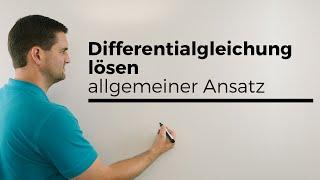 Differentialgleichung lösen, linear, inhomogen, allgemeiner Ansatz | Mathe by Daniel Jung