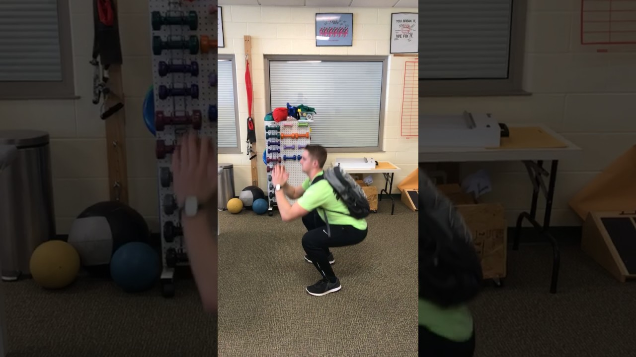 fc44c9473854 Non-Traditional Squats using a Backpack with books inside. Marywood  Athletic Training