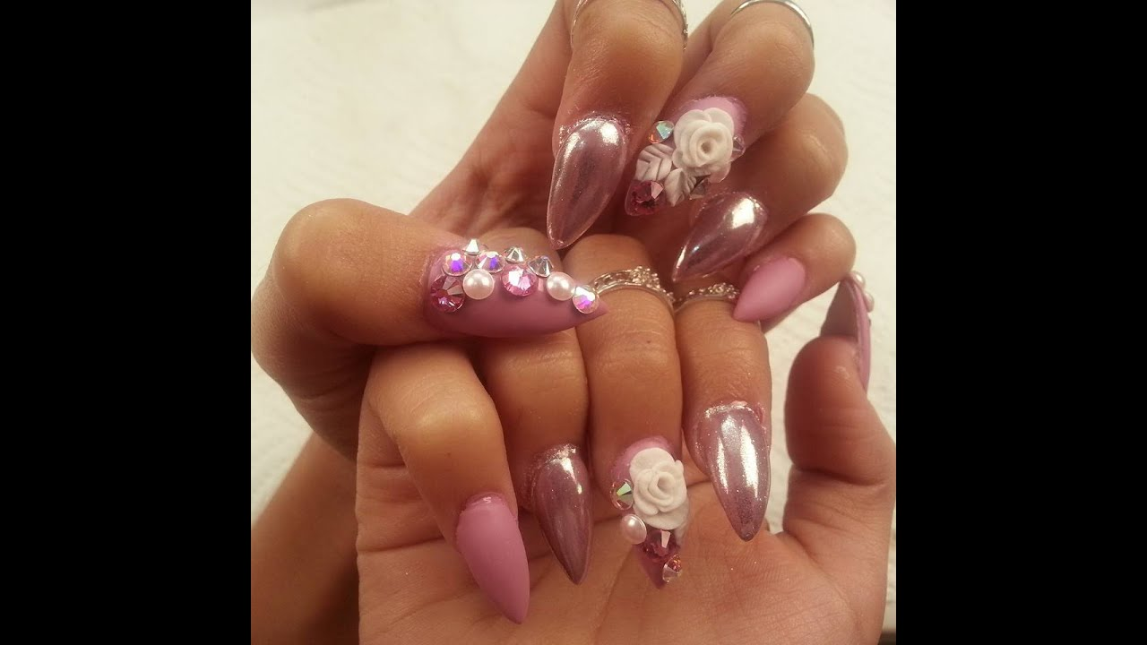 UÑAS efecto espejo.faciles y bellas en cromo.COLOR ROSAS. - YouTube