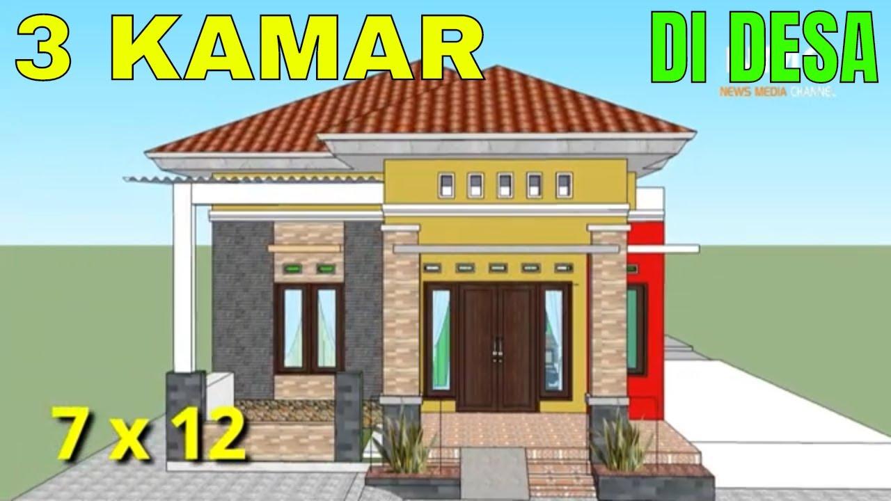 DESAIN Rumah Minimalis Modern Ukuran 7x12 Meter 3 Kamar Tidur 1 Lantai FULL  DENAH - YouTube