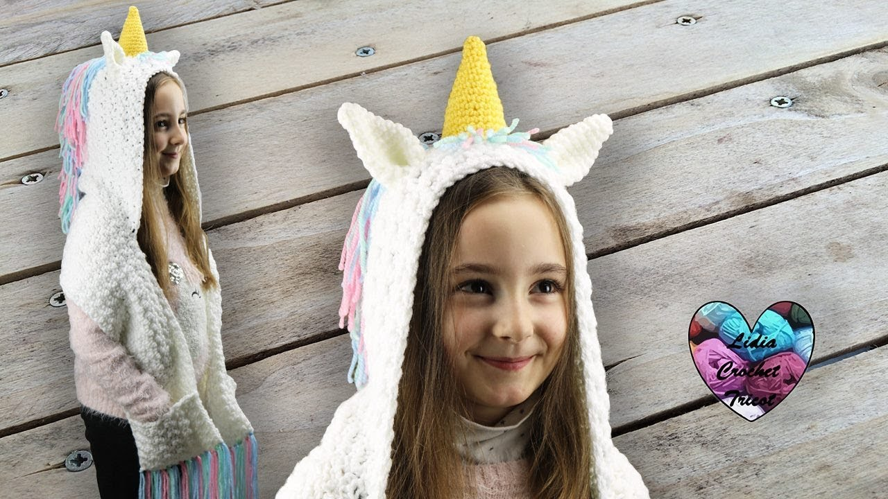 34aa1ac36530 Capuche licorne crochet 3 en 1 🦄🦄🦄 (capuche écharpe poche) - YouTube