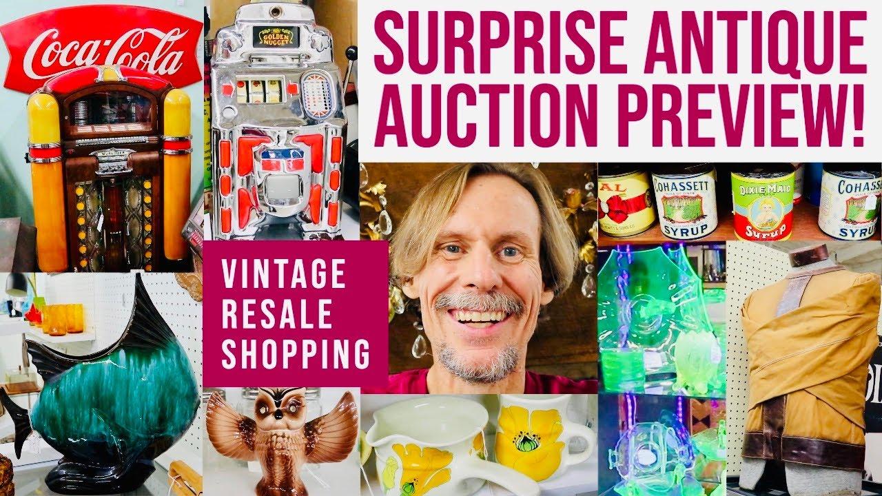 ANTIQUE AUCTION PREVIEW | VINTAGE RESALE SHOPPING | ANTIQUE MALL