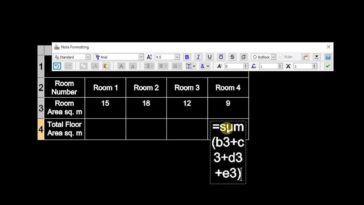 DraftSight 2019: Using Formulas in Tables